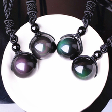 Natural Obsidian Rainbow Eye Necklaces for Woman Beaded Transfer Good Luck Bead Pendant New Rope Chain Necklace Handmade Jewelry