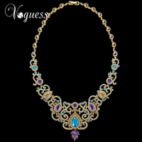 VOGUESS 2017 New Bohemian Long Multi Chain Necklace Gold Plated Tassel AAA Zircon Crystal Pendant Necklaces