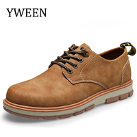 YWEEN Men S Casual Shoes Man Leather Worker Shoes Autumn New Round Head Shoes