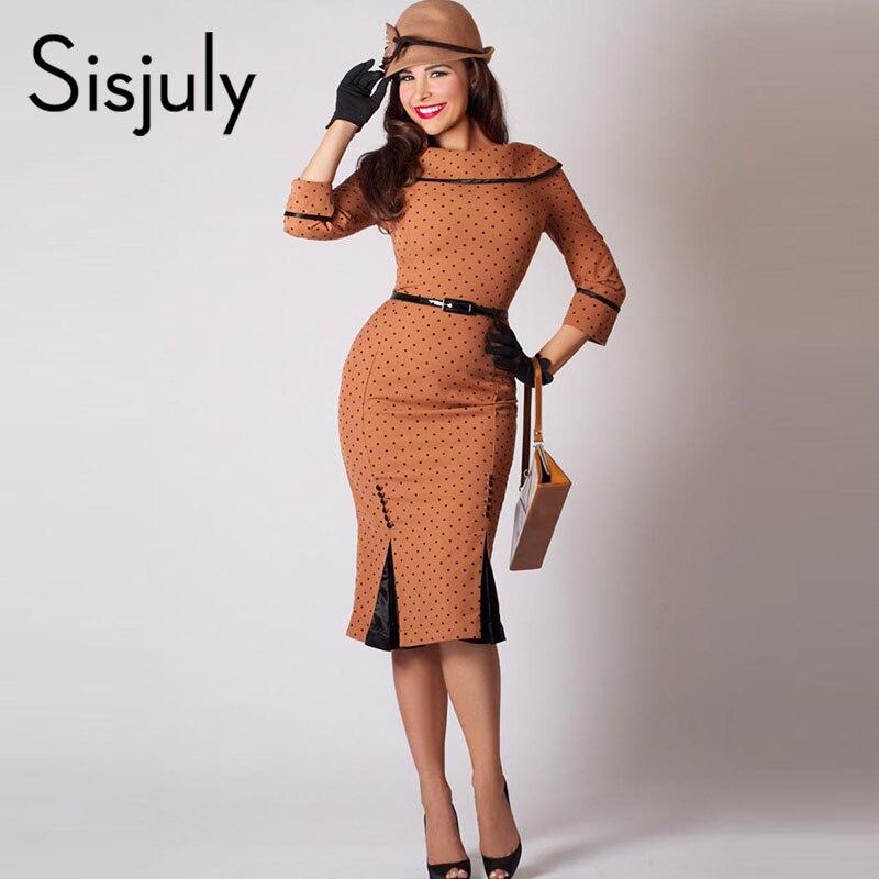 Sisjuly Women Bodycon Polka Dot Dress Sexy Elegant Party Dress Sheath Patchwork Button Female Autumn Retro Pencil Vintage Dress