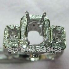 Три камня Silod 14kt Белое золото свадебное полукрепление свадебный набор для церемонии помолвки кольцо