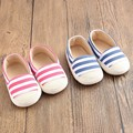 New Fashion Newborn Baby Unisex Kids Prewalker Shoes Infant Toddler Crib Babe Girl Boy Soft Soled Stripe Loafer Ballet Flats