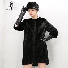 Young style Fashion Mink Fur coat Genuine Leather O-Neck fur coats for women Luxury fur coat Black mink coat