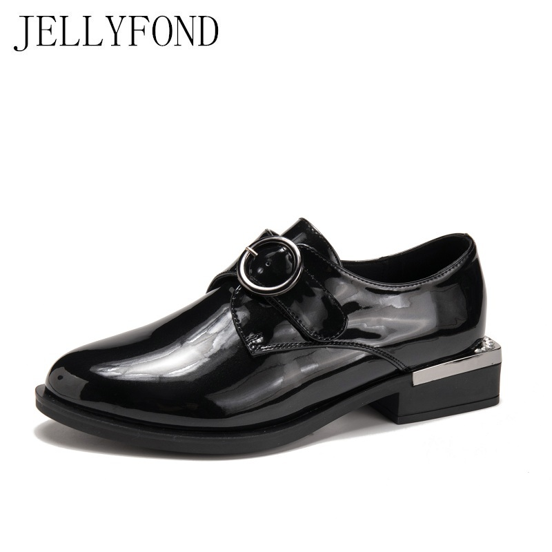 JELLYFOND Brand Black Patent Leather Women Oxfords Flats 2018 Pointed Toe Metallic Buckle Low Heels Designer Cowhide Shoes Woman pu pointed toe flats with eyelet strap