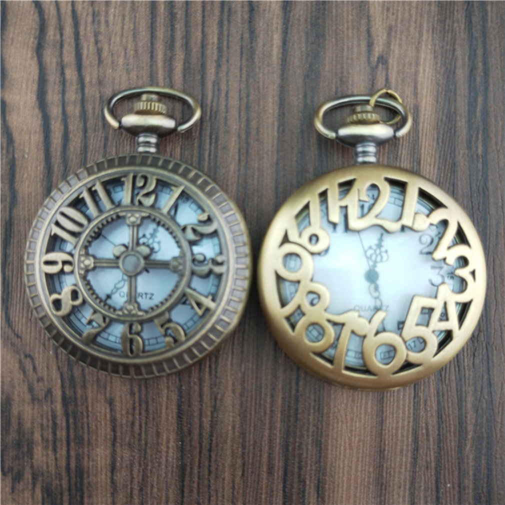 Unique Men Women Vintage Pocket Watch Roman Numerals Fob Watch Glass Dial Necklace Pendant Clock Time With Chain