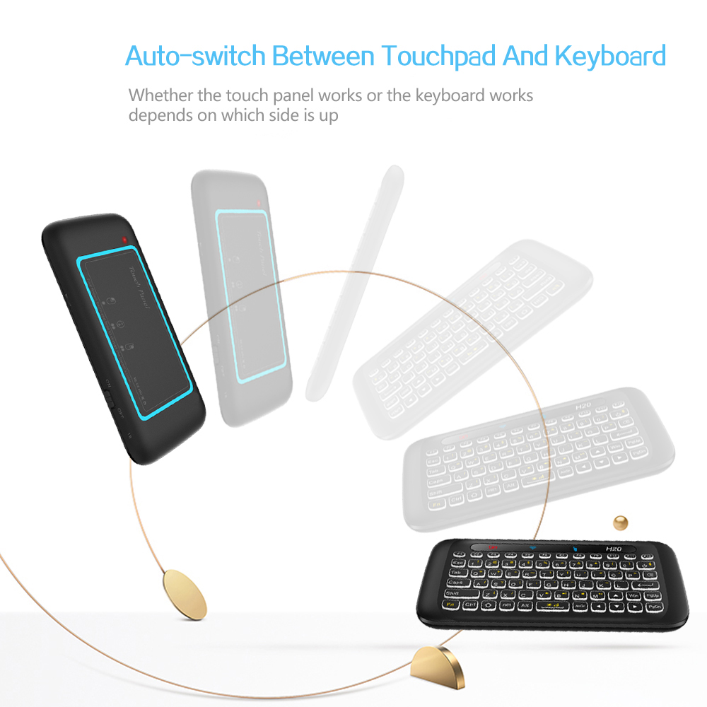 Image 5 - AVATTO Russian,English H20 Full Touchpad Backlit Mini Keyboard with 2.4G Wireless IR Remote Control for Smart TV Android Box PC-in Keyboards from Computer & Office