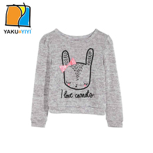 YKYY YAKUYIYI Autumn Knitted Girls Sweater Bowknot Cartoon Baby Cardigan Solid Gray Casual Kids Pullovers Children Clothing