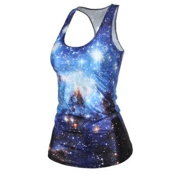 3D Print Tops Galaxy Printing Crop Blue Sky Shinny Star Hot Women's Skinny Sleeveless T-shirt