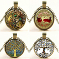 Steampunk Vintage Tree of Life Cabochon Bronze Glass Chain Pendant Statement  Necklace Women Bijoux Femme Jewelry 2016 New