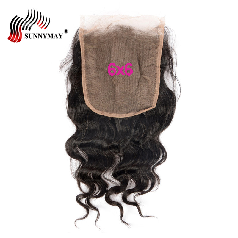 Sunnymay 6x6 Lace Closure Loose Wave Brazilian Virgin Hair Lace Frontal Closure Pre Plucked Baby Hair