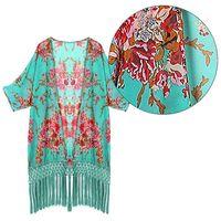 2016 New Women Flower Prints Kimono Shirts Loose Floral Cardigan Jackets Long Chiffon Blouse Open Cardigans