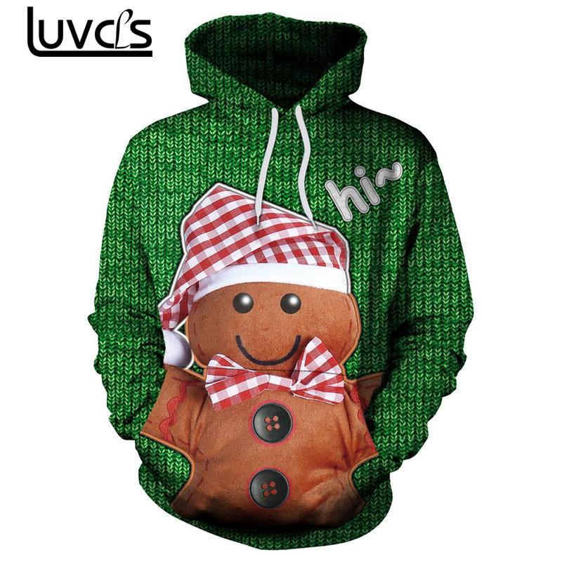 LUVCLS Couple Cute Santa Christmas Hooded Pullover Fashion Couple Men Long Sleeve Hoodies Sweatshirts Leisure Hoodies Big Size