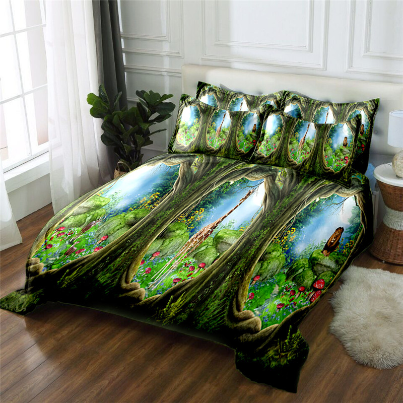 Новый продукт джунгли пейзаж 3D печатных 4 шт постельных принадлежностей из микрофибры постельное белье пододеяльник набор простыня - 3