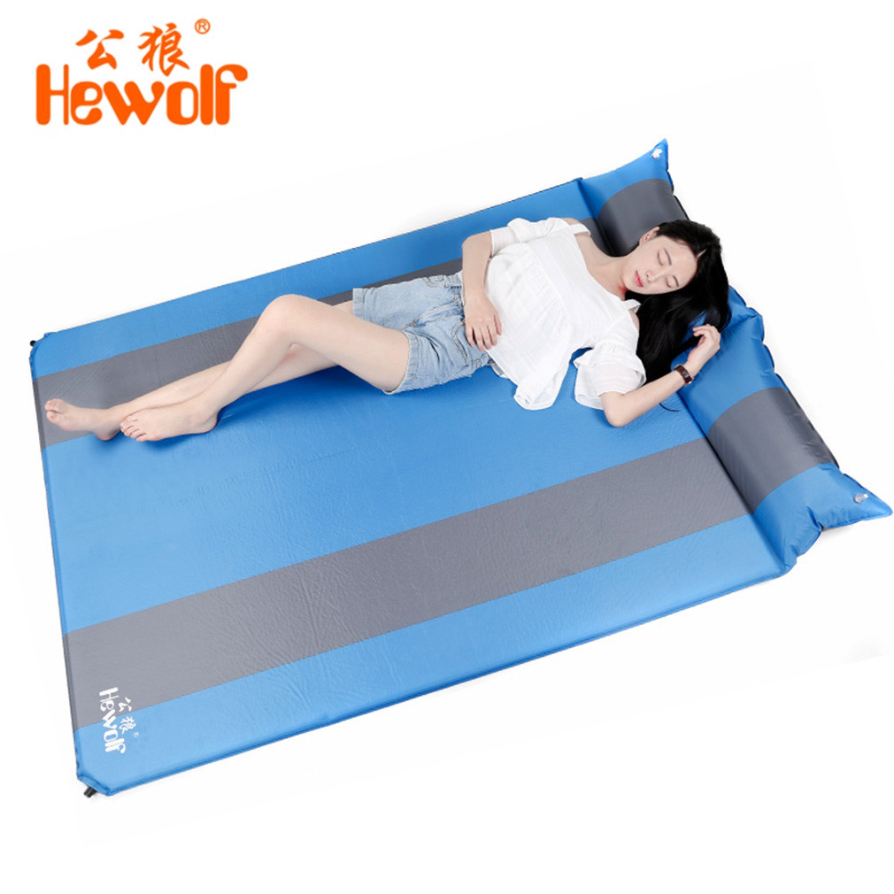Hewolf Outdoor 2 Persons Automatic Inflatable Mattress Cushion Camping Mat Thickening Inflating Hiking Travel Beach Moisture Pad hewolf outdoor 2 person automatic inflatable mattress cushion picnic mat inflating hiking camping travel beach moisture pad