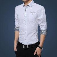100% хлопок мужской fit формальные Бизнес рубашка 3d priting Дизайн с длинным рукавом весенне-осеннее платье Рубашки для мальчиков
