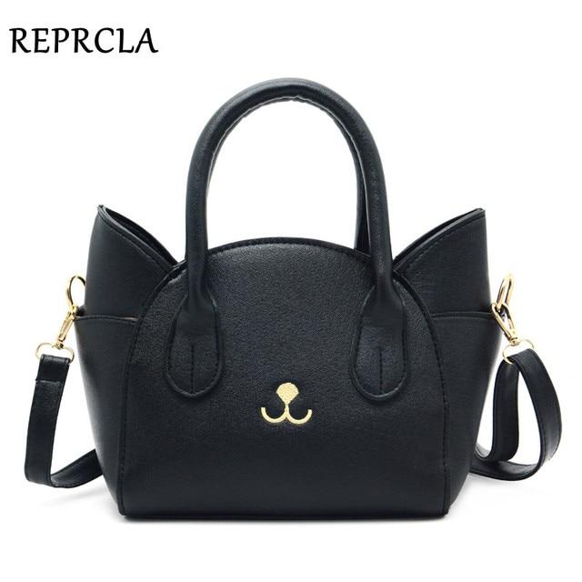 REPRCLA Brand Luxury Handbags Women Bags Designer Shoulder Bag Cute Cat Crossbody Messenger Bags PU Leather Top-handle Bag