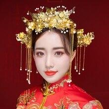 Yeni stil Çin gelinler şapkalar Phoenix taç düğün elbisesi kafa elbise aksesuarları antik kostüm Han aksesuarları