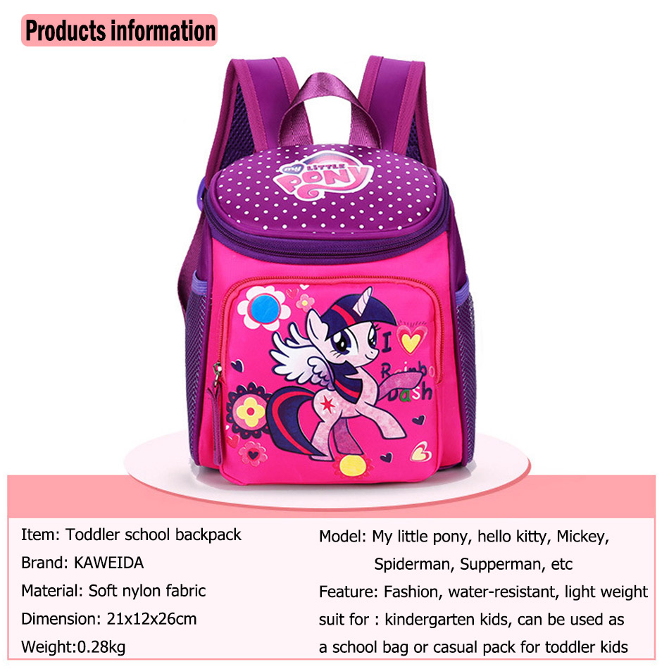 My little pony School bags for Toddler Kids Cute Children Mini Hello Kitty schoolbag Cartoon orthopedic Backpack for boys girls (4)
