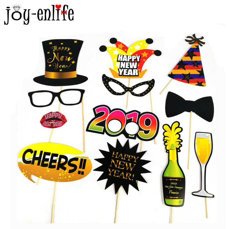 aliexpresscom buy happy new year eve hello 2019 diy photo booth props funny mustache glasses new year christmas party photo props party supplies from