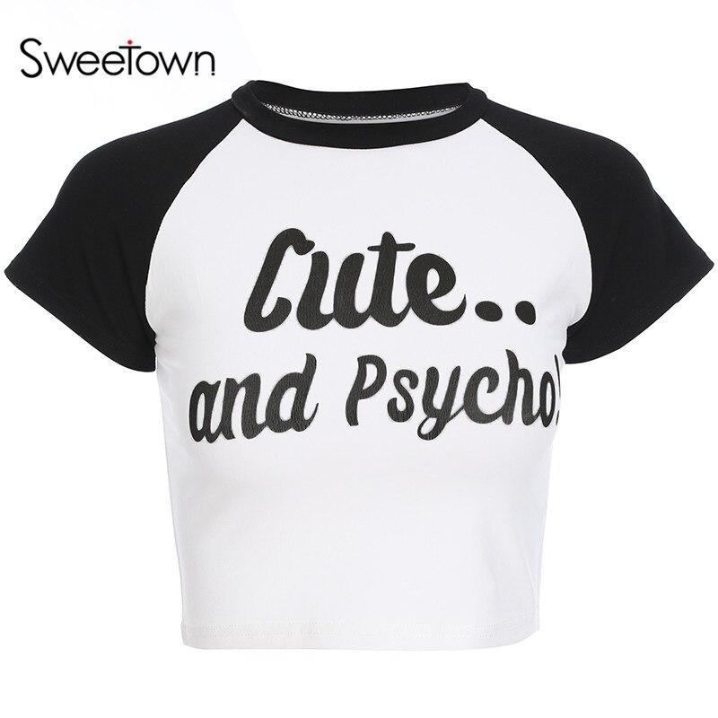 Sweetown Black White Patchwork T Shirt Clothes Women Short Sleeve Basic Crop Top Tee Shirt Femme 2018 Printed Tshirt Streetwear