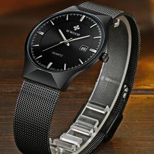Image 3 - Men Watches Top Brand Luxury WWOOR Simple Slim Date Quartz Watch Men Wristwatch Business 블랙메쉬 남성 Watch Relogio Masculino