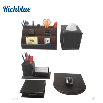 5pcs/set PU Leather Desk Stationery Organizer Box Pens Cards Holder Office Supplies Tissue case mouse pad Note box
