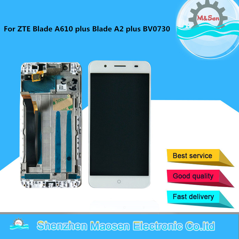 """Original M&Sen For 5.5"""" ZTE Blade A610 Plus Blade A2 Plus BV0730 LCD Screen Display+Touch Panel Digitizer Frame For A610 Plus"""