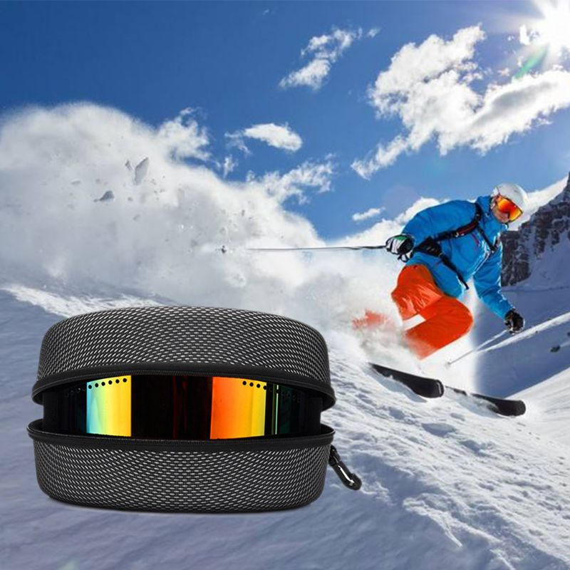 Protection EVA Snow Ski Eyewear Case Snowboard Skiing Goggles Sunglasses Carrying Case Zipper Hard Box Holder(Without Goggles)