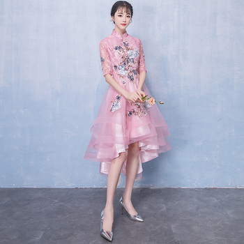 In Stock Pink Lace High Neck Half Sleeve with Embroidery Asymmetrical Evening dress Robe de soiree Vestido de festa longo