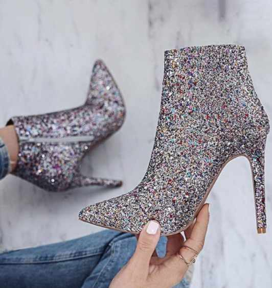XingDeng Ladies Zip High Heels Motorcycle Boots Women Pointed Toe  Glittering Silver Dress Party Wedding Ankle 09845c6b456f