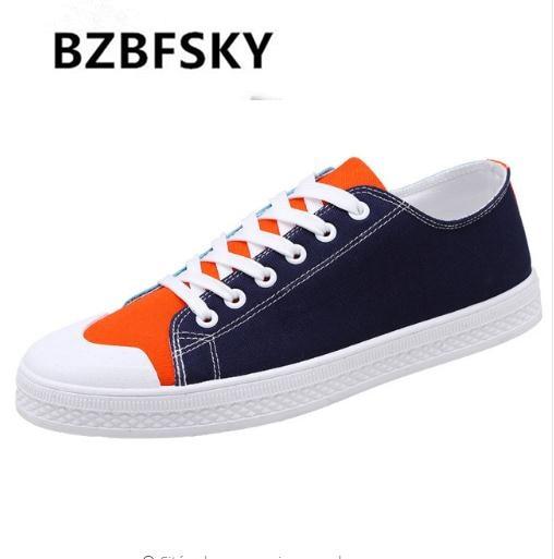 BZBFSKY 2019 tendance hommes toile surfaces plates chaussures homme couleur couture à lacets baskets mâle respirant chaussures décontractées Zapatos Hombre