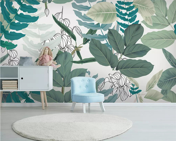 Beibehang Custom Wallpaper Mural Green leaf watercolor floral style background wall Oil Painting Tropical Rainforest wallpaper beibehang formaldehyde free classic wall paper embossed lotus vintage watercolor lotus leaf porch decorative painting wallpaper