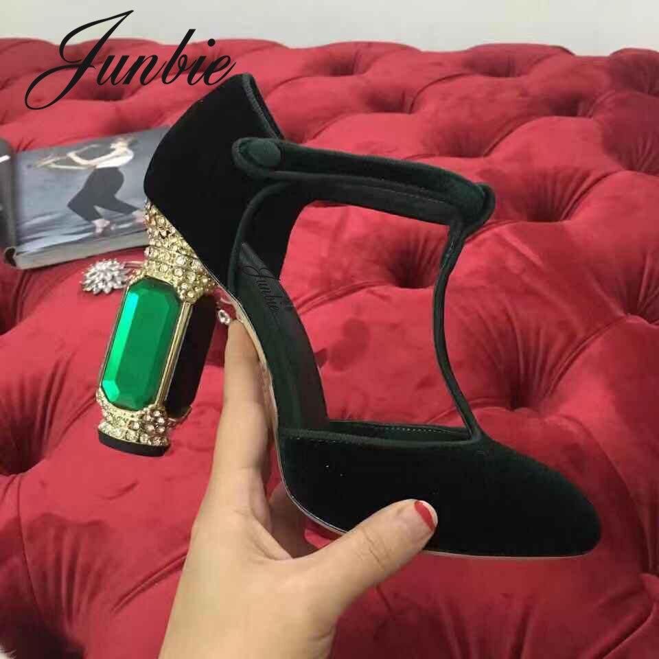 JUNBIE/новые женские туфли лодочки из натуральной кожи, украшенные кристаллами и бусинами, туфли на высоком массивном каблуке с круглым носком