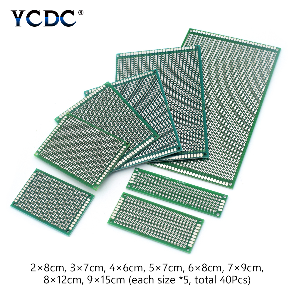 40Pcs PCB Printed Circuit Board Proto Breadboard 8 Sizes Mix For DIY Projects