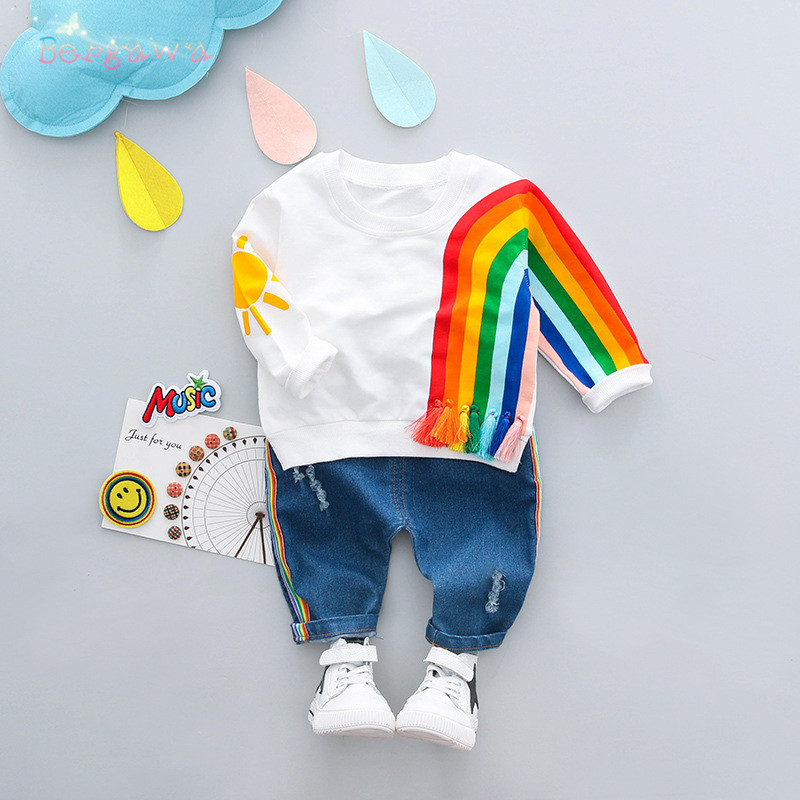 Sweatshirt Tops Jeans Hole-Pants Rainbow-Tassel Baby-Girls Infants 2pcs Spring S6192