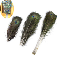 50 Pcs Natural real peacock feathers for jewelry making plumes long  25-80cm DIY Home vase Wedding Party decorative plumas