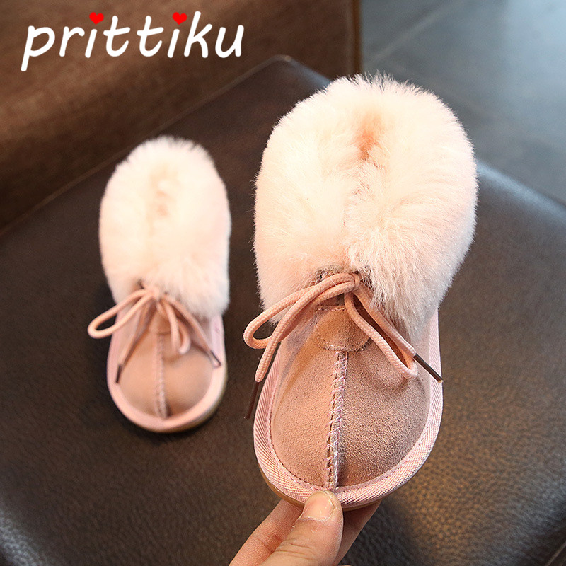 Girls Boys Faux Fur Collar Ankle Boots Snow Warm Booties Cow Suede (Toddler/Little Kid) keen austin ii c shoe toddler little kid