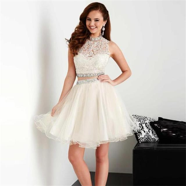 Ivory Two Pieces Homecoming Dresses 2016 Cheap Beaded Tulle Lace ...