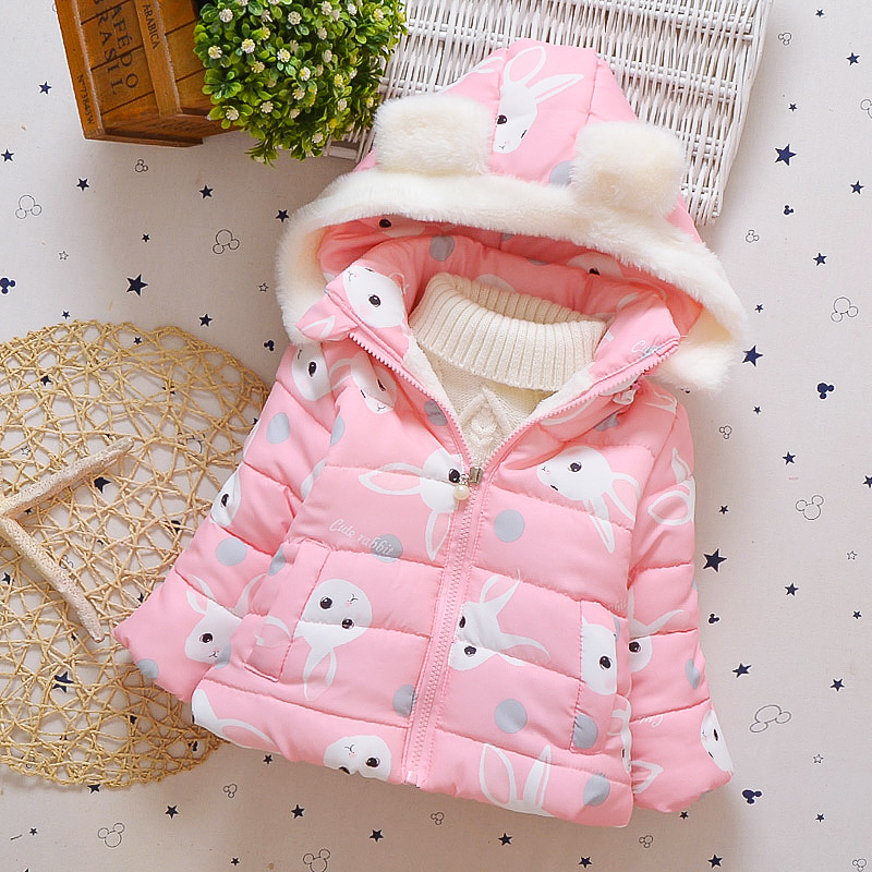 TUTUYU Baby Girls Winter Hooded Coat Kids Padded Jacket Children Warm Cotton Coat Bunny Printing Down Coat For Girls Clothes 2017 winter children cotton padded parkas clothes baby girls