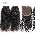 Iwish Вьющиеся Человеческих Волос С Закрытием Вьющиеся Weave Малайзии Девы Волос С Закрытие Kinky Вьющиеся Малайзии Глубокая Волна С Закрытием