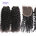 Iwish Curly Human Hair With Closure Curly Weave Malaysian Virgin Hair With Closure Kinky Curly Malaysian Deep Wave With Closure