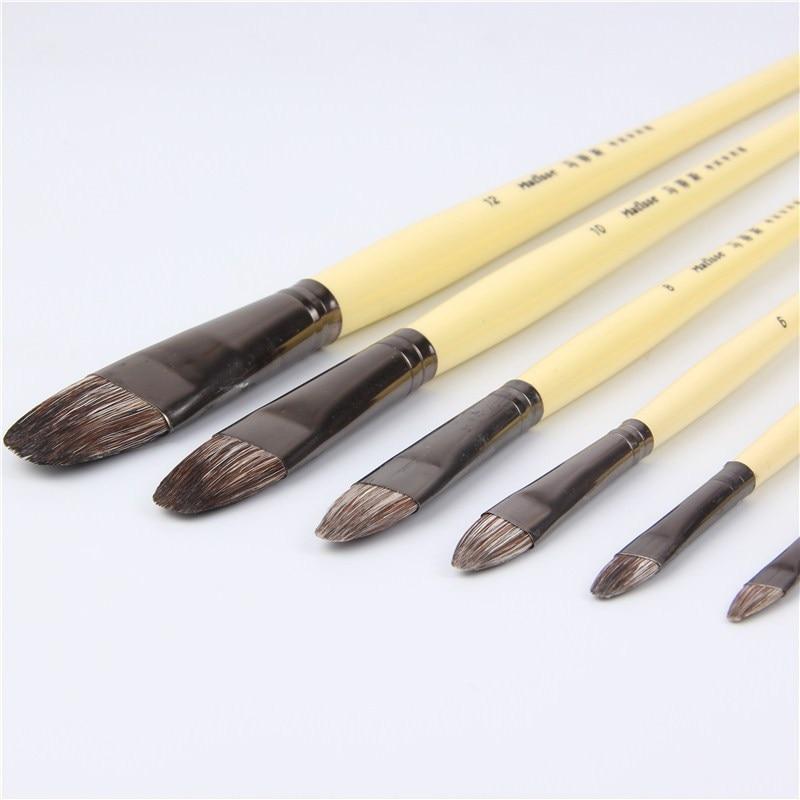 6pcs/Set Weasel Hair Row Of Pens Tongue Peak Paint Brushes Oil Paint Brush Water Color Brush Acrylic Paint Art Supplies