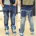 Transporte livre do Menino das calças de brim menino primavera/outono estudantes menino calças jeans lazer calças cultivar a moralidade calças