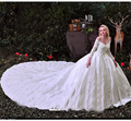 2017 Vintage Золушка Свадебные Кружева Свадебное Платье для Невесты с 3/4 Рукавом Sexy V Шеи Атласная Люкс Свадебные Платья