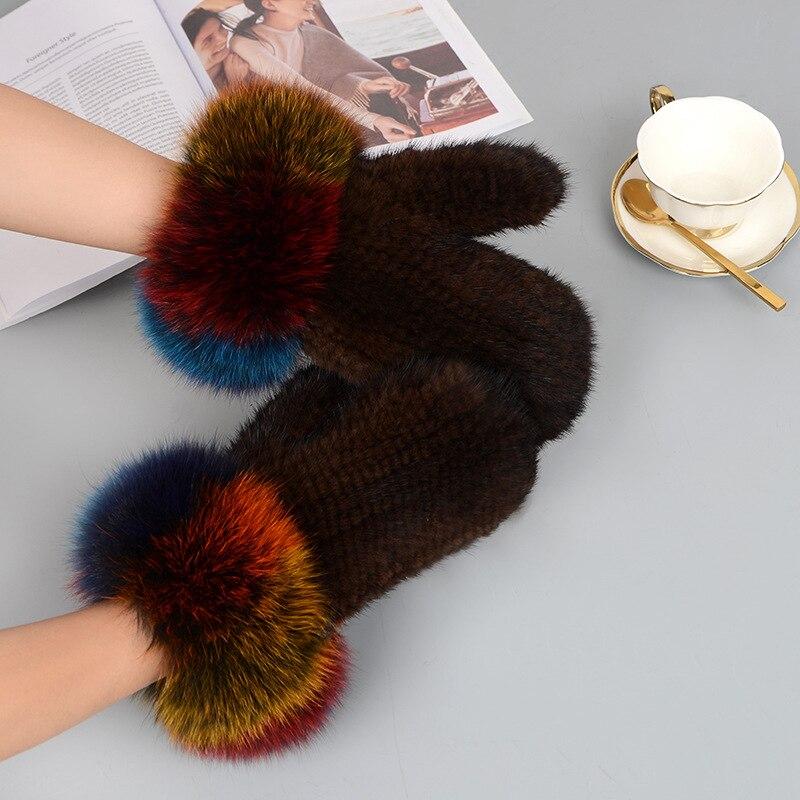 Gants de fourrure véritable de luxe IANLAN pour femmes en fourrure de vison tricotée avec des mitaines de poignet en fourrure de renard hiver 100% gants solides faits à la main IL00216