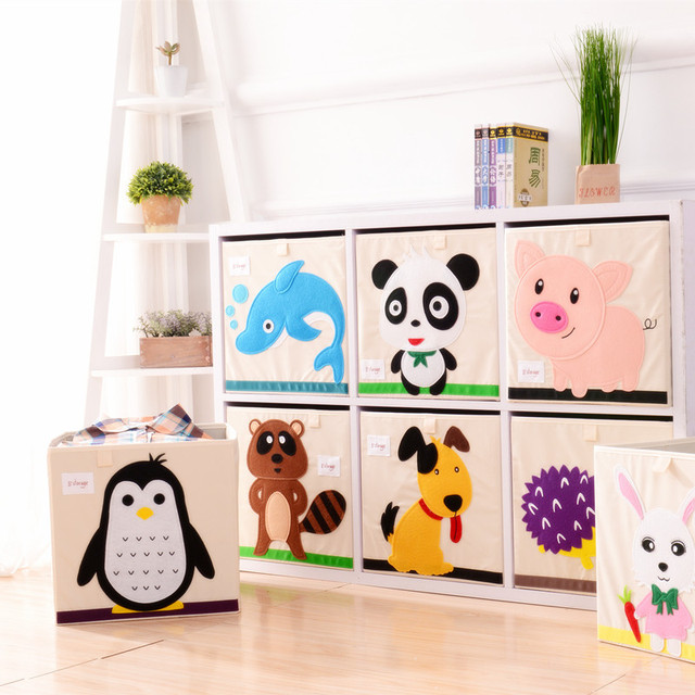 New 3D Embroidery Cartoon Animal Folding Storage Box Large Laundry Basket  Sundries Kids Clothes Toys Book