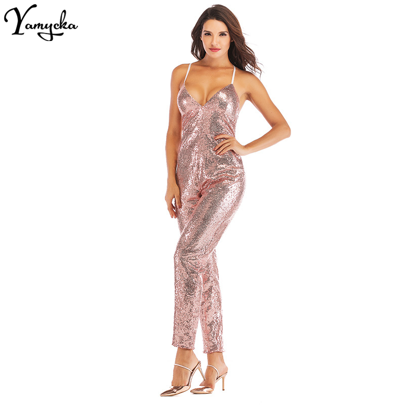2018 New Summer Gold Sequin Bodysuit Women Deep V neck Backless Macacao Feminino Sexy Spaghetti Strap Overalls Party Jumpsuit