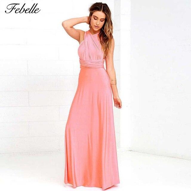 quality design a20c4 41ec0 Us 26 48 febelle Frauen Halter Rosa Lange Dress Sleeveless ...