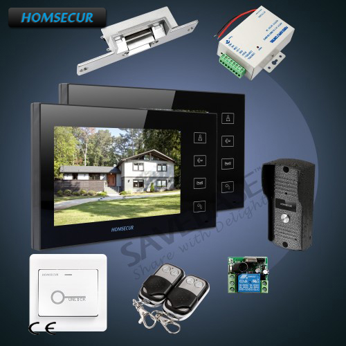 HOMSECUR 7 Hands-free Video&Audio Home Intercom+Black Monitor for Apartment