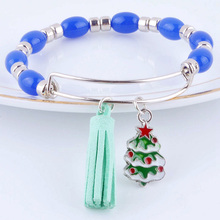 Hot Expandable adjustable wire wrap acrylic beads bangle tassels Christmas style charm cuff bracelet for women Jewelry XY160312